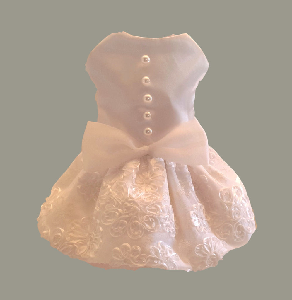 White Satin with Bridal Lace - Chic Doggie Boutique  - 1