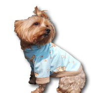 Light Blue Fleece with Puppy Print - Chic Doggie Boutique  - 1