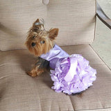 Lilac Satin with Heart Ruffled Skirt - Chic Doggie Boutique  - 1