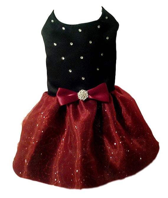 Black Satin with Red Organza Skirt