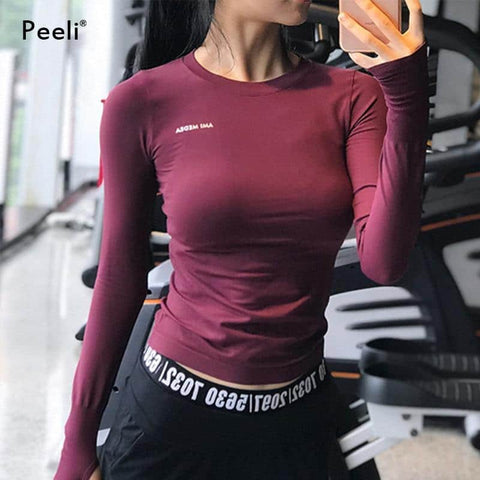 Peeli Long Sleeve Yoga Shirts Sport Top Fitness Yoga Top Gym Top Sports Wear for Women Gym Femme Jersey Mujer Running T Shirt