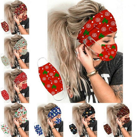 2 Piece Mask + Button Headband Christmas Set