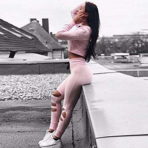 Baby Pink Cut-Out Yoga Pants