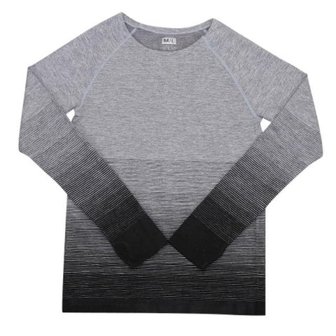 Gradient Gray Long Sleeve Fitness Tee