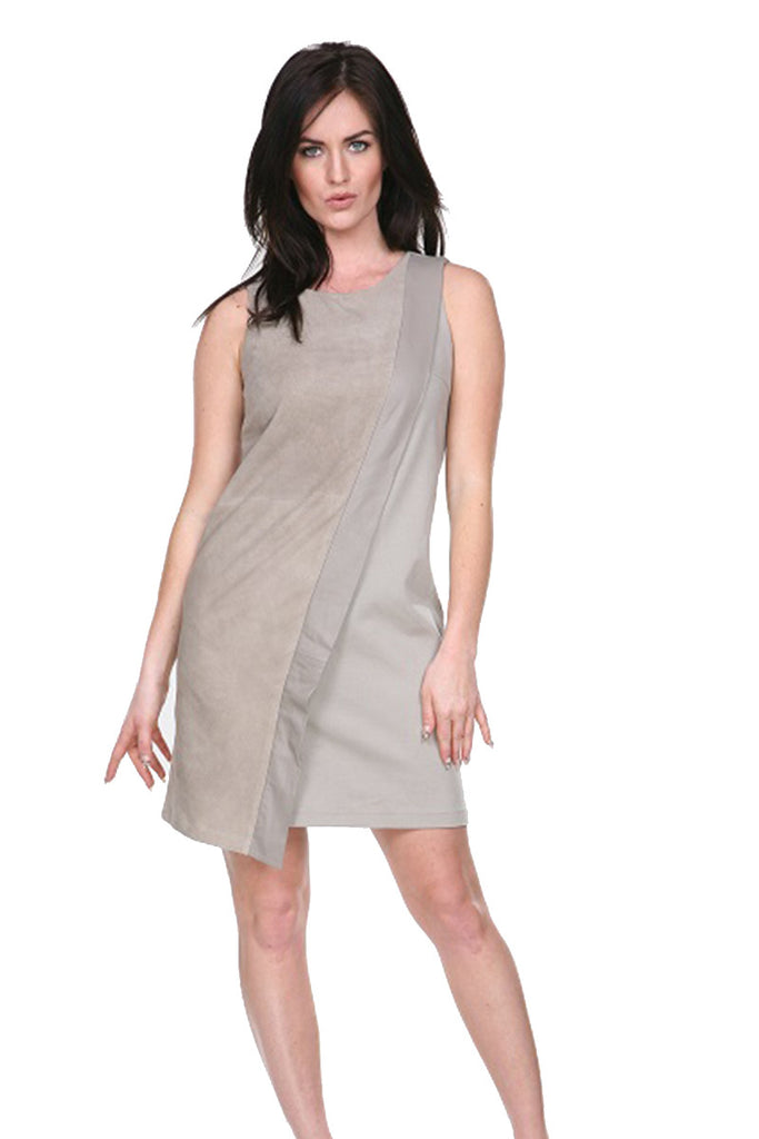 Mock wrap dress with leather trim