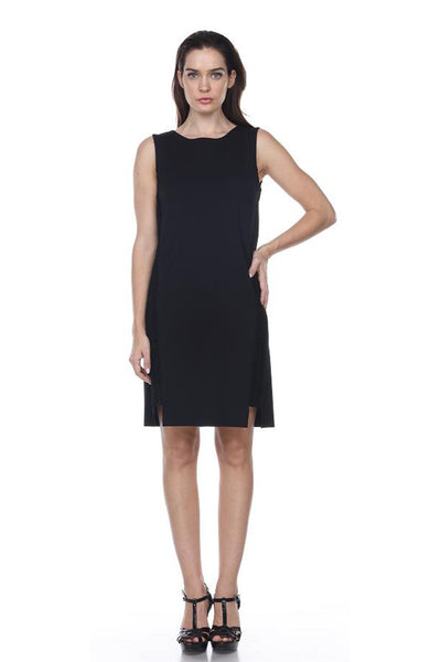 LMT845 Ponti Dress with Leather Trim My Tribe Clothing designer women,