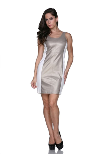 LMT 110 Leather Tank Dress My Tribe Clothing designer for women, leather silk