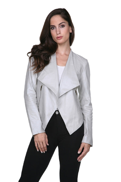 Waterfall metallic leather moto jacket