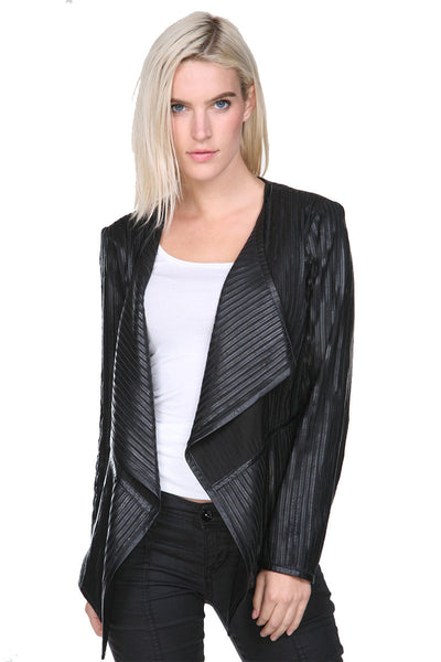 Leather Striped jacket