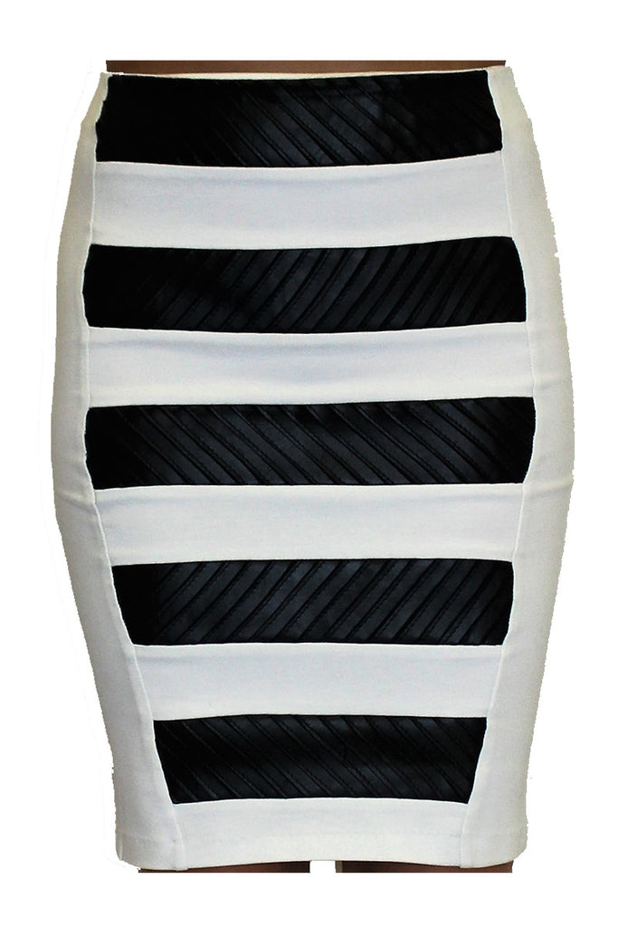 MTS205 Leather Stripes Skirt My Tribe Clothing designer for women,
