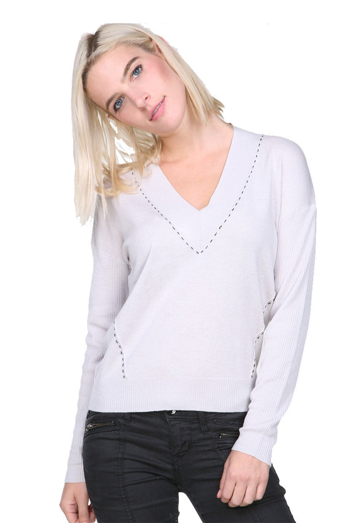 SW1994 Silk Cashmere V Neck HiLo My Tribe Clothing women, silk.