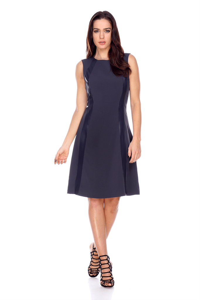 LMTW07 Flare Dress With Insert Leather My Tribe Clothing women;
