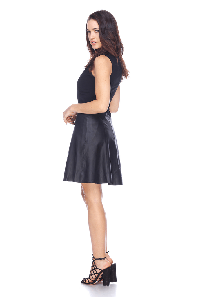 LMTW08 Leather Fit Flare Dress My Tribe Clothing designer for women