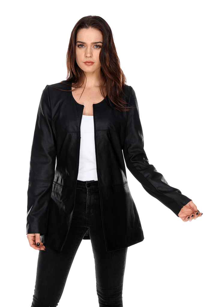 Leather Spring Coat MT1472 My Tribe Clothing designer women, leather;
