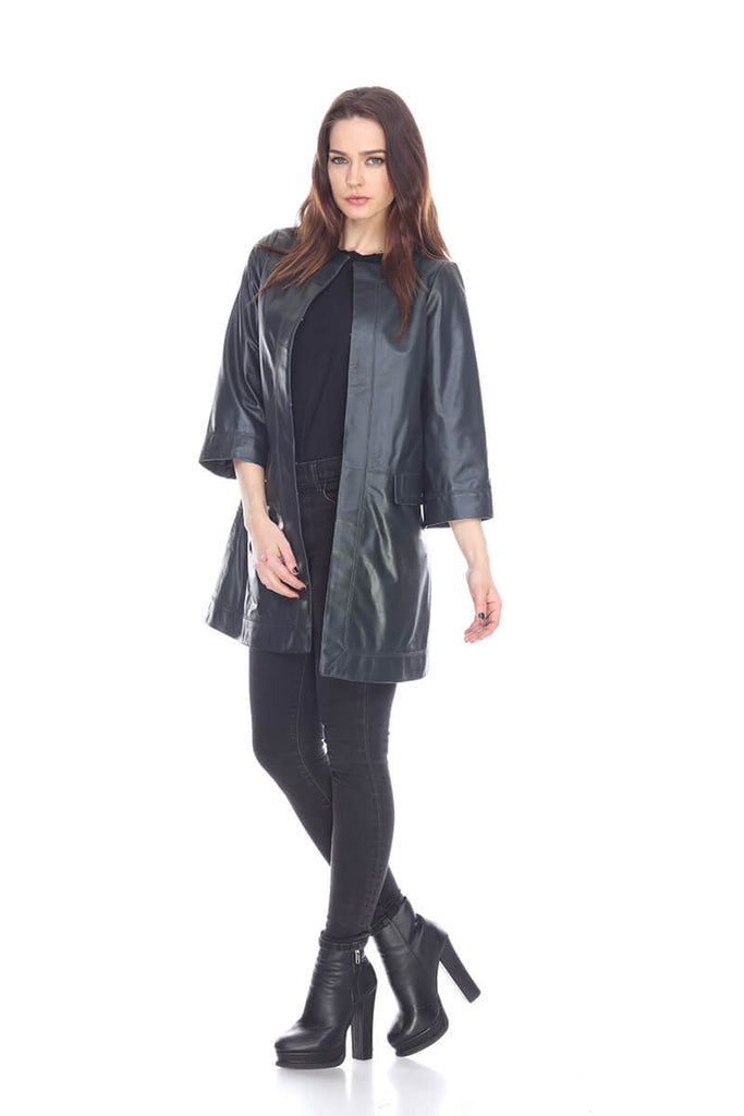 MT1473 Flared sleeves long leather coat My Tribe Clothing