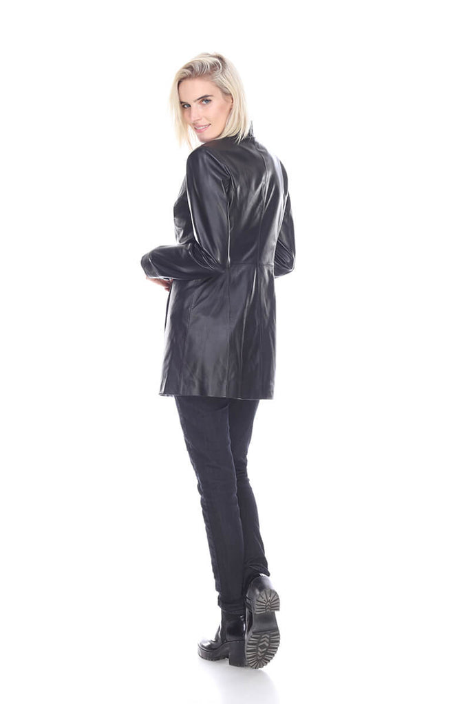 MT1499 Long leather coat My Tribe Clothing