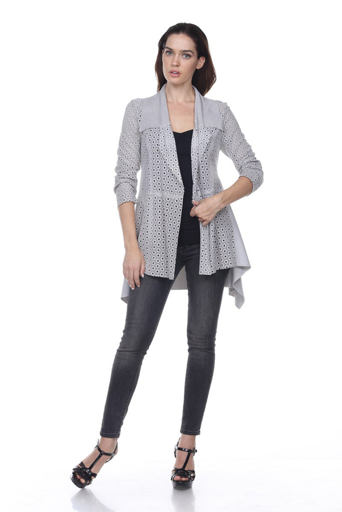 Perforated leather jacket long