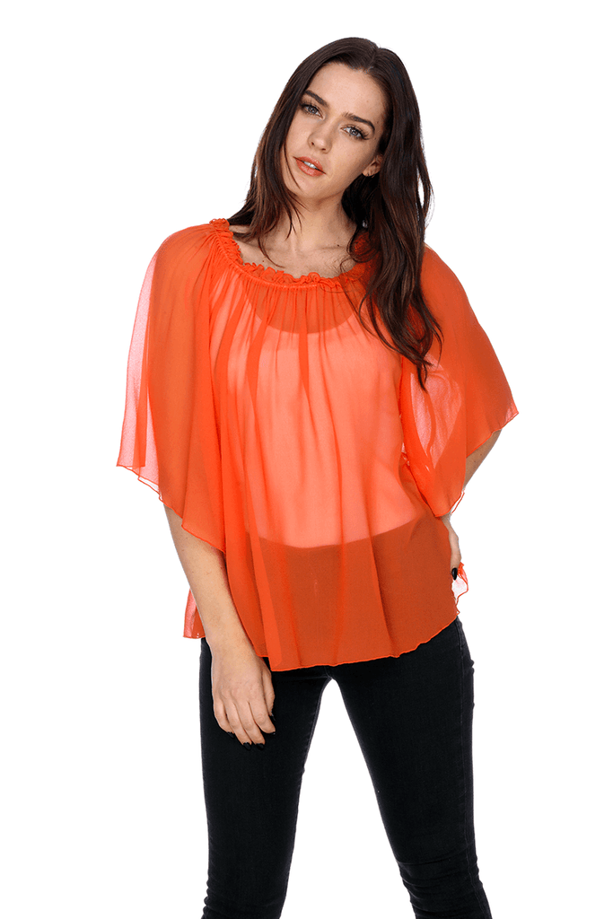 Silk Georgette Peasant Ruffle Blouse MTB04 MY TRIBE LEATHER WOMEN