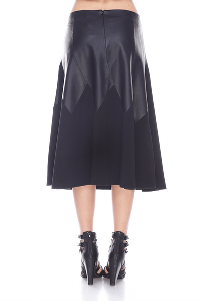 Yoke Leather Skirt MTS251 MY TRIBE LEATHER FASHION WOMEN CLOTHING