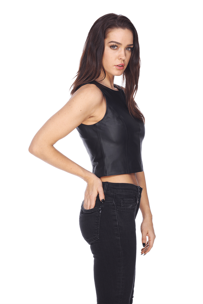 Crop Leather Top MTT027 MY TRIBE LEATHER TRENDS FASHION WOMEN CLOTHING