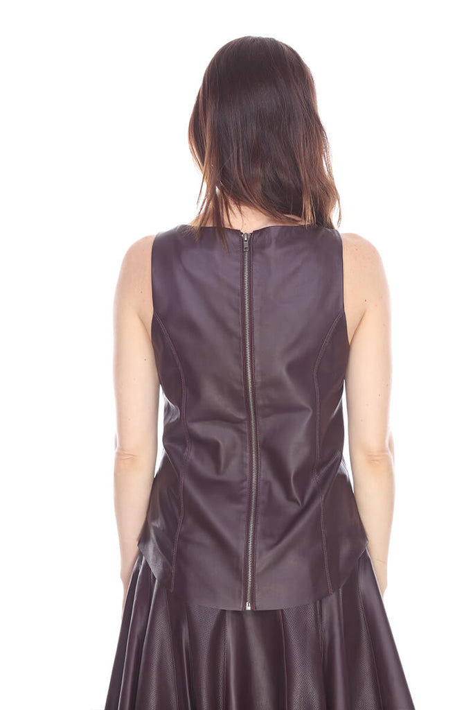 MTT3501 Back zipper leather top My Tribe Leather Clothing