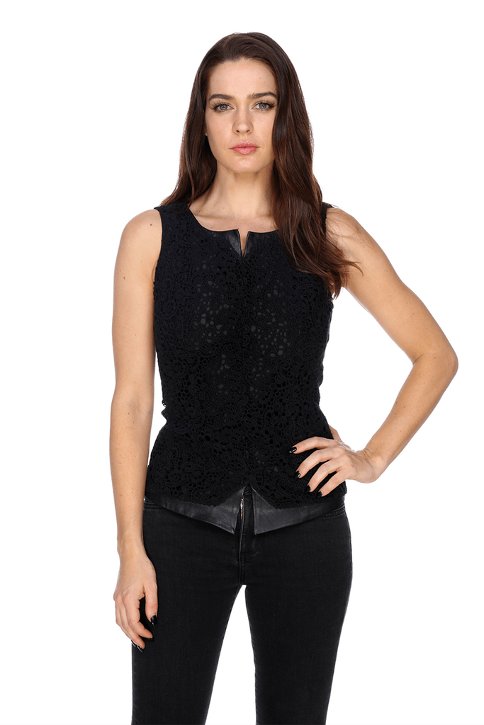 Lace Top With Leather Trims MTT600 MY TRIBE LEATHER WOMEN CLOTHING