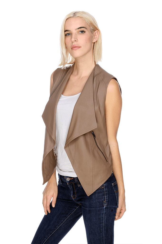 MTV055 Sleeveless Vest Leather My Tribe Clothing designer for women