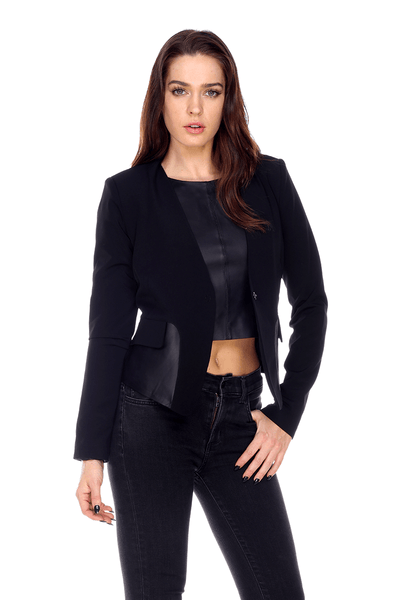 Laure Blazer Insert Leather MT1702 My Tribe Clothing designer women