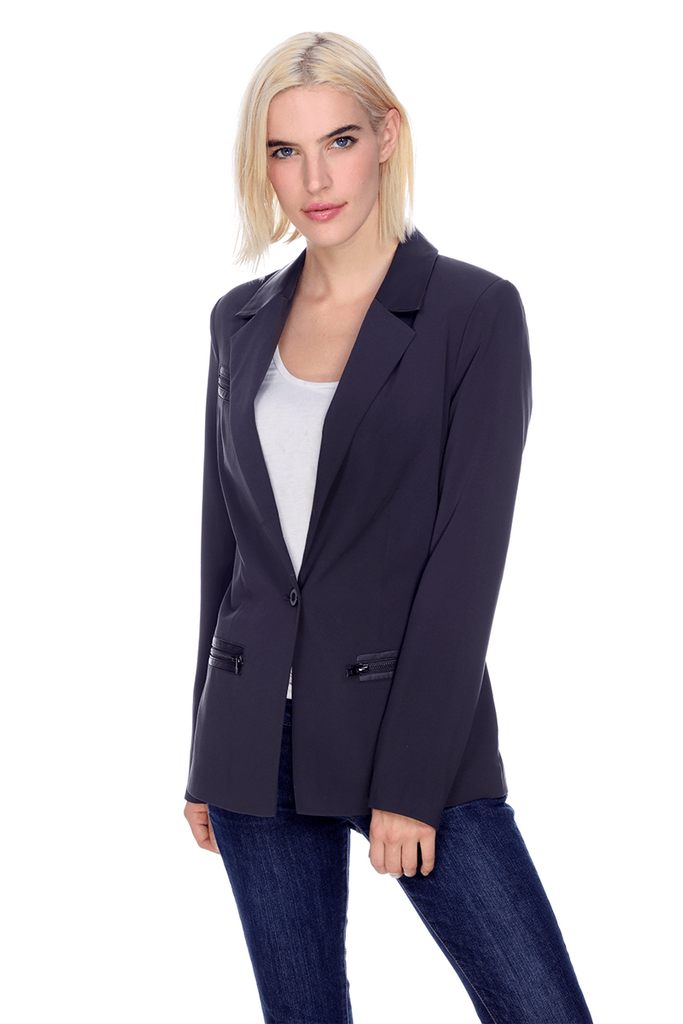 Zipped Blazer MT1703 My Tribe Clothing designer for women, leather