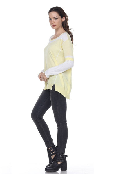SW2040 Striped Arms Hi Lo Scoop Neck My Tribe Clothing for women;