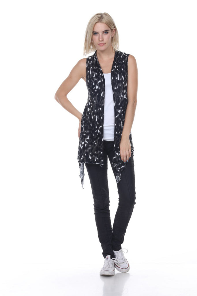 SW2070 Shawl Front Animal Print Cardigan Vest My Tribe Clothing women,
