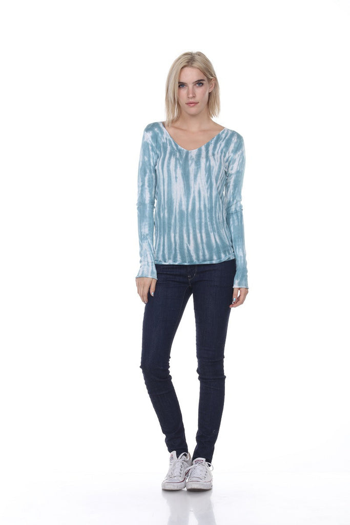 SW2073 V Neck Tie Dye My Tribe Clothing designer for women, leather.