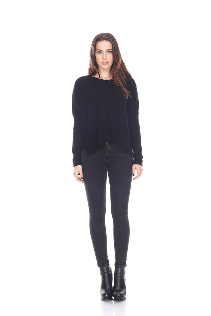 SW2506 Wide V neck cashmere sweater My Tribe Leather Clothing
