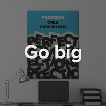 "Load image into Gallery viewer, ""Progress Over Perfection"" Motivational Canvas Art by IKONICK"