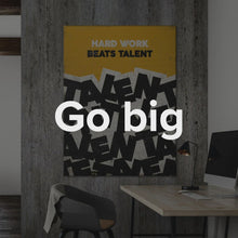 "Load image into Gallery viewer, ""Hard Work Beats Talent"" Motivational Canvas Art by IKONICK."