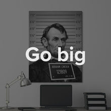 "Load image into Gallery viewer, Money Banksy Style (Abraham Lincoln) Contemporary Abstract Wall Art Canvas ""Mug Shot Money (Abraham Lincoln)"" by IKONICK"