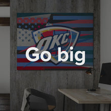"Load image into Gallery viewer, Oklahoma State Flag Canvas Oklahoma City Thunder Wall Art ""Oklahoma City Thunder Flag"" by IKONICK"