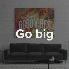 "Load image into Gallery viewer, Travel Living Room Art Modern/Pop Culture Canvas Wall Art ""Good Vibes"" by IKONICK"