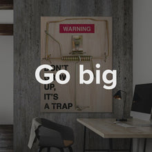 "Load image into Gallery viewer, Motivational Quote Office Wall Art Mouse Trap Motivational | Inspirational Quote Wall Art ""It's A Trap"" By IKONICK"