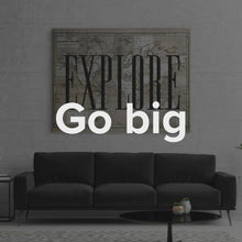 "Load image into Gallery viewer, Explore Travel Motivational Quote Wall Canvas Art ""Explore"" by IKONICK"
