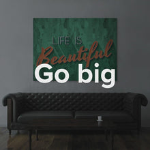 "Load image into Gallery viewer, Modern/Pop Culture Quote Canvas Wall Art ""Life Is Beautiful"" by IKONICK"