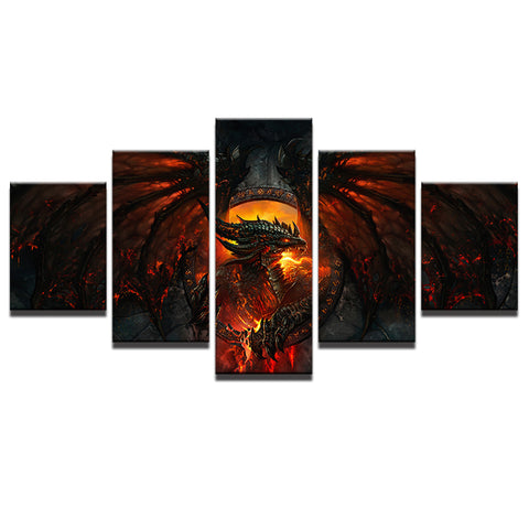 Dragon Red Fire Canvas Art