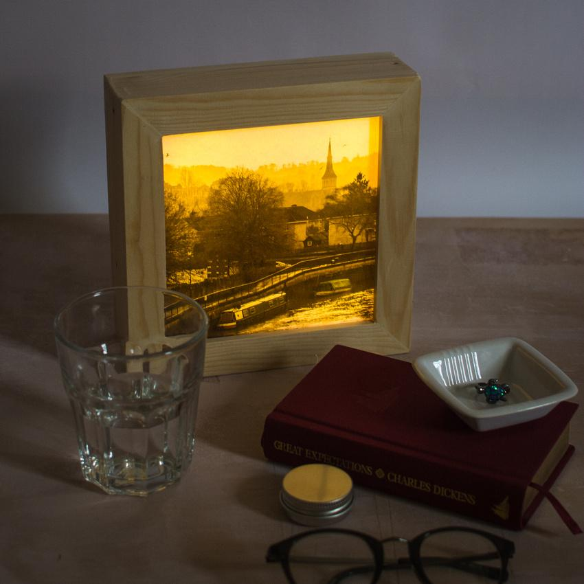 Bath, Somerset art prints in wooden light box