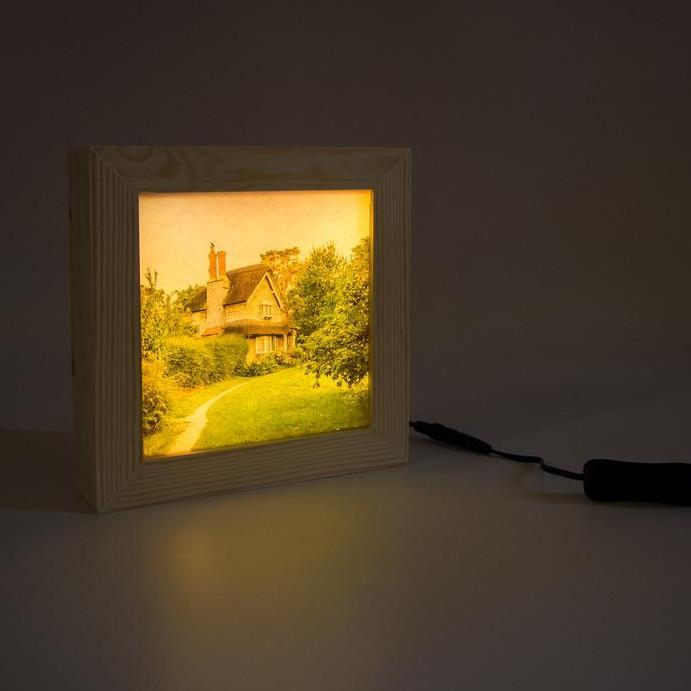 Wooden light box handmade in pine