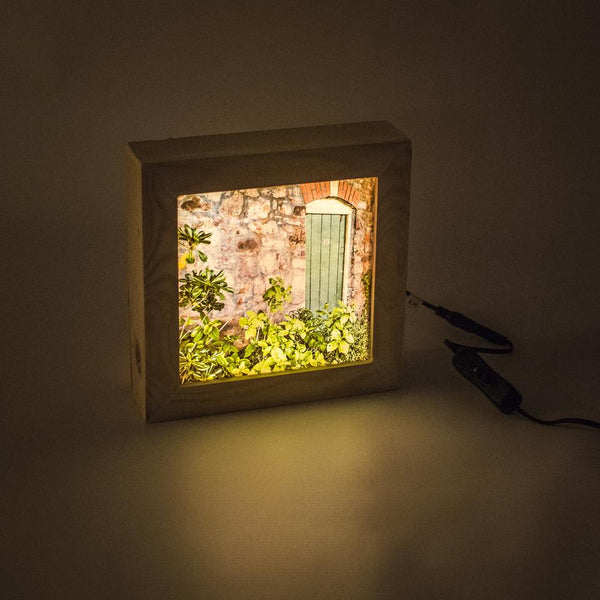 Wooden light box switched on