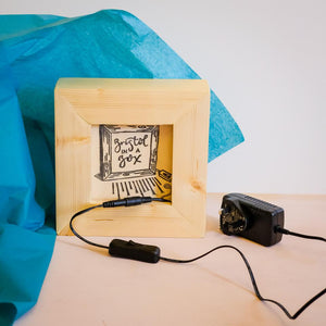 Nina Allwood creates wooden light boxes with on/off switch to make her photographs glow