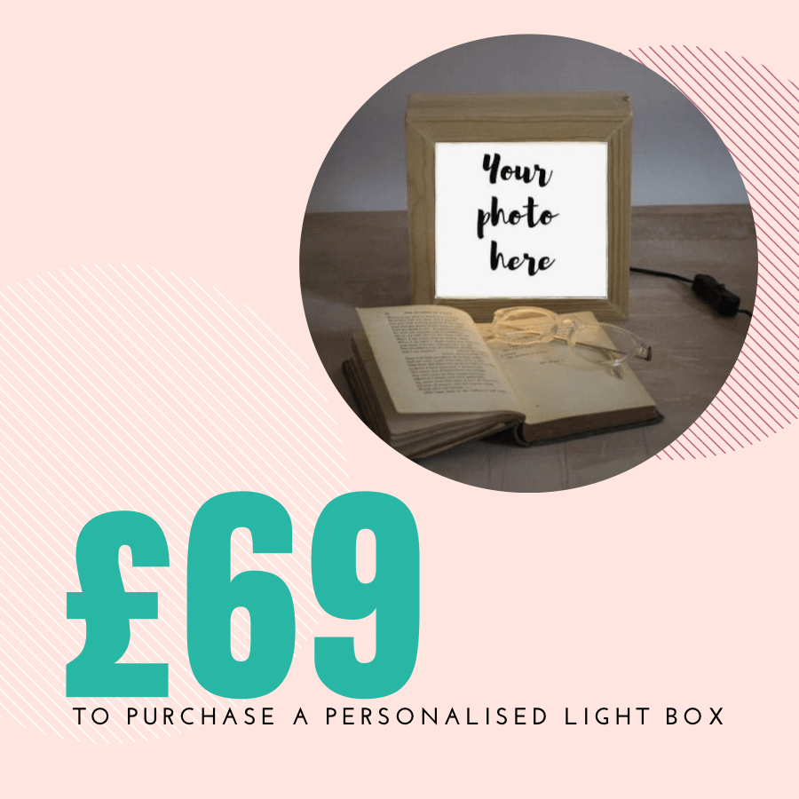 Gift voucher for a wooden personalised light box by Nina Allwood