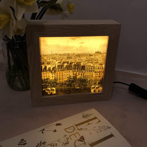 Handmade lightbox featuring a Paris print