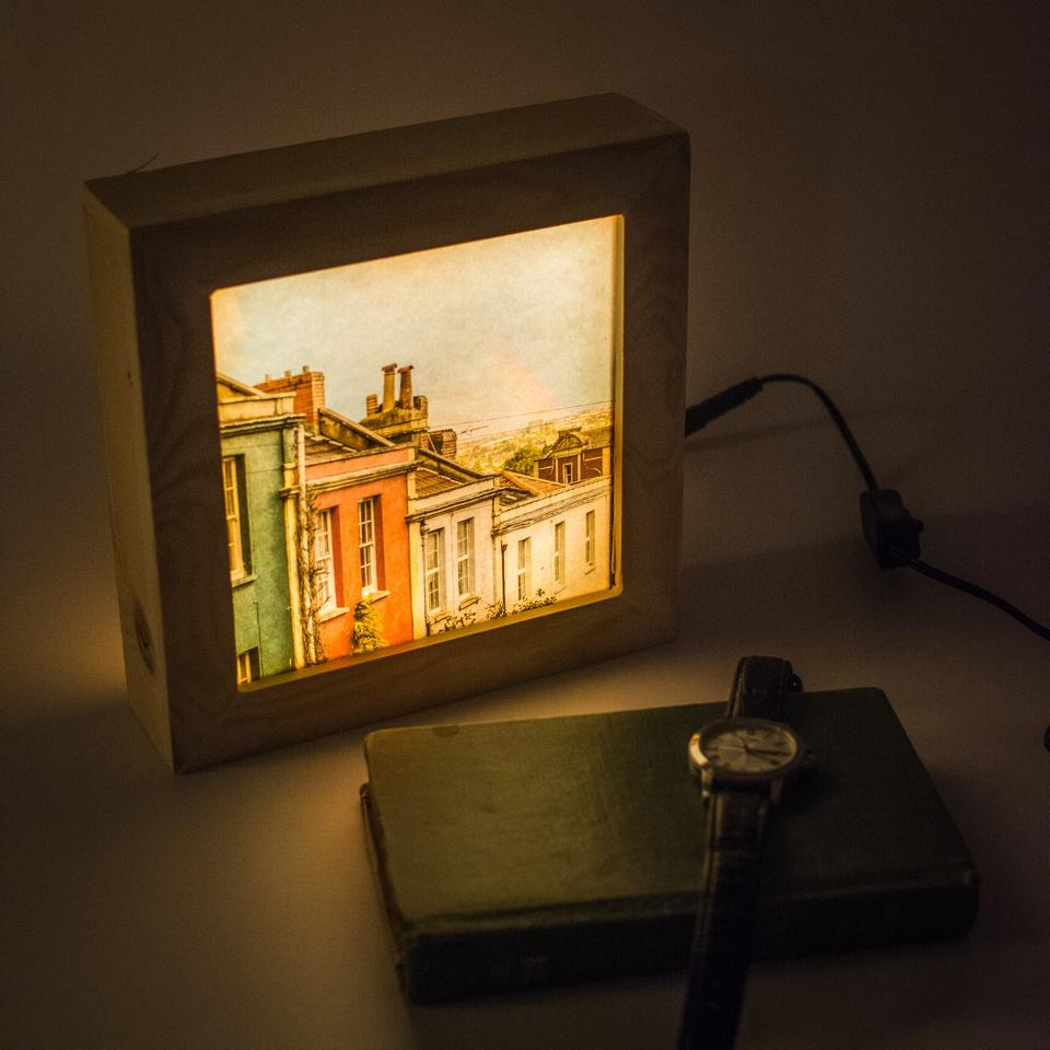 Bristol prints with backlighting to make them glow in low light
