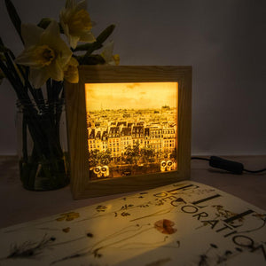 Paris print with a twist. Wooden light box featuring a Paris print